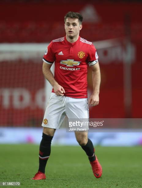 Joe Riley of Manchester United U23s in action during the Premier League 2 match between Manchester United U23s and Tottenham Hotspur U23s at Old...