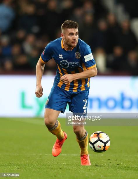Joe Riley of Shrewsbury Town during the Emirates FA Cup Third Round Replay match between West Ham United and Shrewsbury Town at London Stadium on...