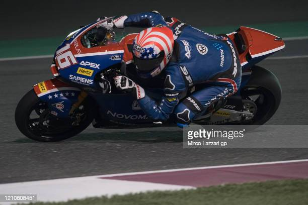 Joe Roberts of USA and American Racing rounds the bend during the Moto2 & Moto3 GP Of Qatar - Free Practice at Losail Circuit on March 06, 2020 in...