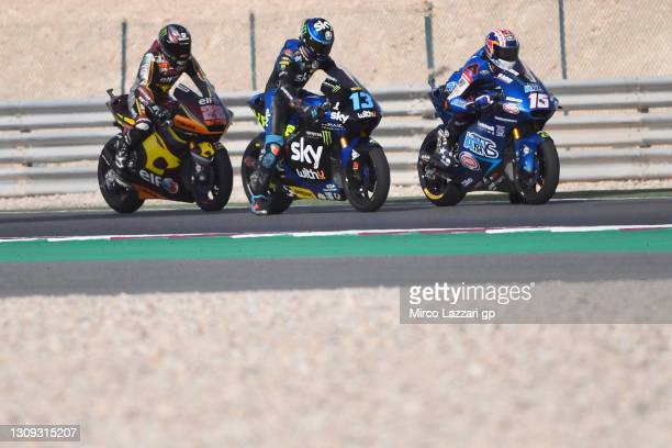 Joe Roberts of USA and Italtrans Racing Team, Celestino Vietti Ramus of Italy and Sky Racing Team VR46 and Sam Lowes of Great Britain and Elf Marc...