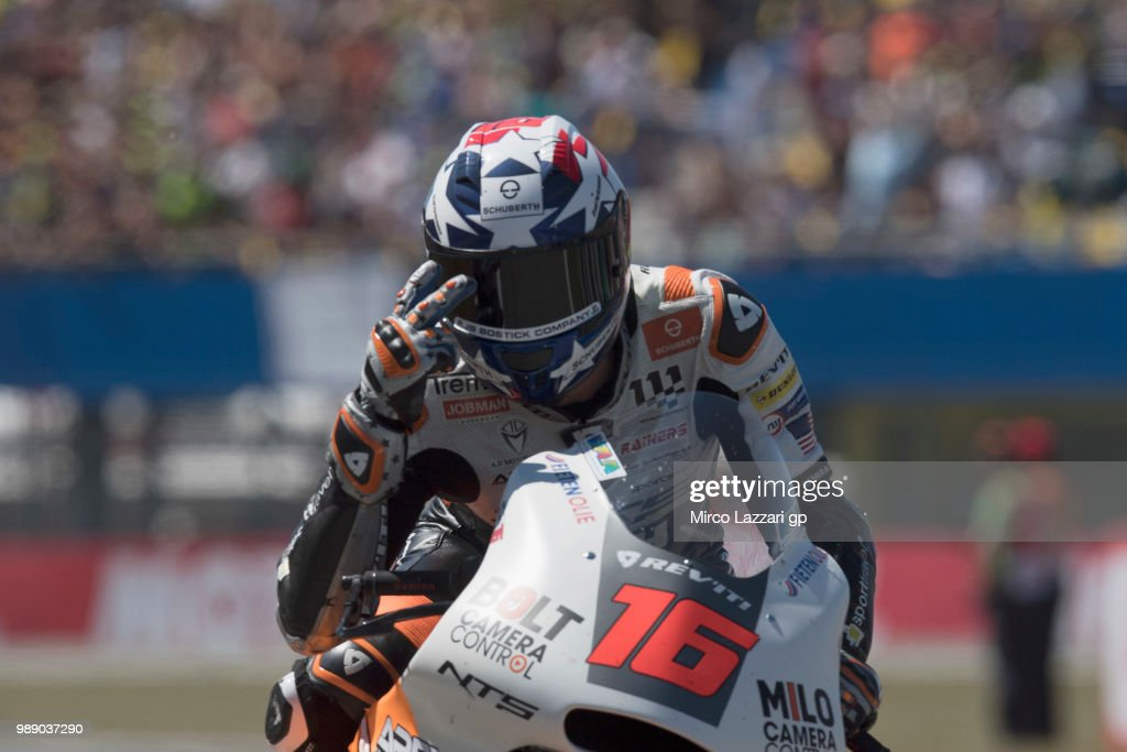 Joe Roberts of USA and NTS RW Racing GP greets the fans at the end of the Moto2 race during the MotoGP Netherlands - Race on July 1, 2018 in Assen, Netherlands.
