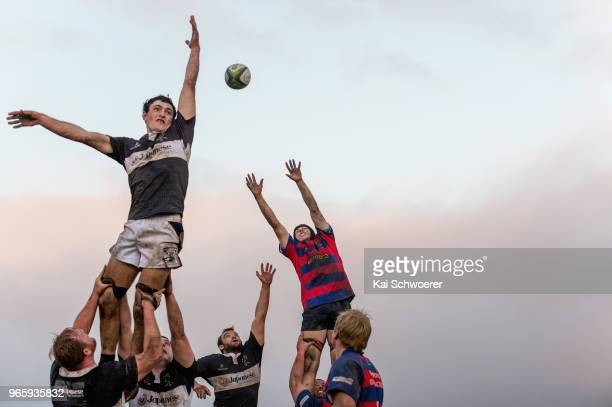 Joe Robins of Waihora, Ryan Koning of Waihora and John Jebson of Darfield compete for a lineout during the Club Rugby Combined Country Division 1...