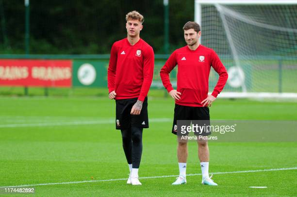 Joe Rodon and Ben Davies of Wales during the Wales Training Session at The Vale Resort on October 7 2019 in Cardiff Wales