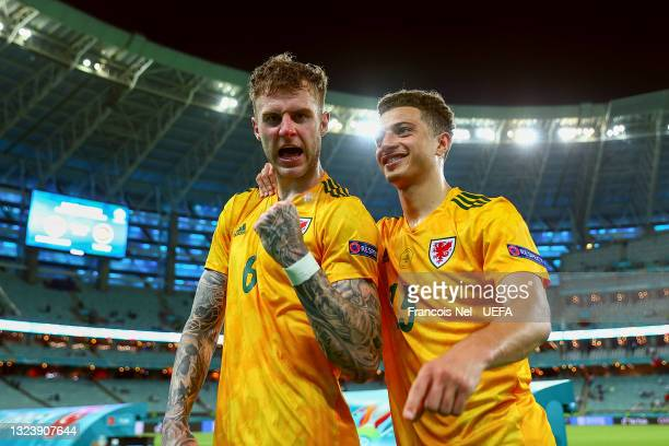 Joe Rodon and Ethan Ampadu of Wales celebrates their side's victory after the UEFA Euro 2020 Championship Group A match between Turkey and Wales at...