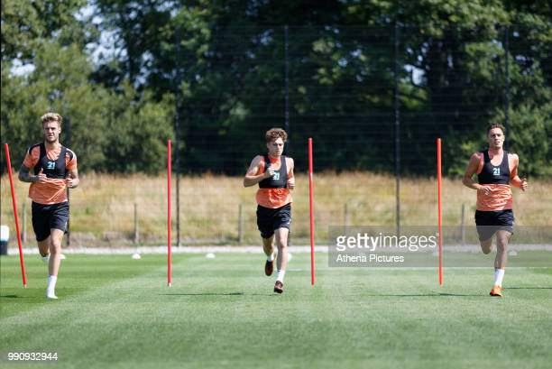 Joe Rodon Daniel James and Connor Roberts in action during the Swansea City Training Session at The Fairwood Training Ground on July 03 2018 in...
