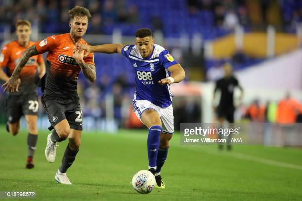 Joe Rodon of Swansea City and Che Adams of Birmingham City during the Sky Bet Championship match between Birmingham City and Swansea City at St...