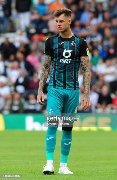 Joe Rodon of Swansea City during the Sky Bet Championship match between Derby County and Swansea City at Pride Park Stadium on August 10 2019 in...