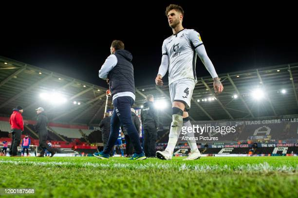 Joe Rodon of Swansea City during the Sky Bet Championship match between Swansea City and Queens Park Ranger at the Liberty Stadium on February 11...