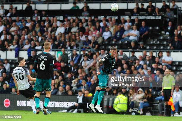 Joe Rodon of Swansea City in action during the Sky Bet Championship match between Derby County and Swansea City at Pride Park Stadium on August 10...