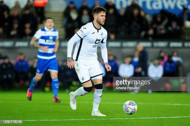 Joe Rodon of Swansea City in action during the Sky Bet Championship match between Swansea City and Queens Park Ranger at the Liberty Stadium on...