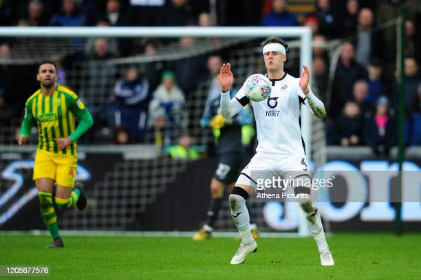 Joe Rodon of Swansea City in action during the Sky Bet Championship match between Swansea City and West Bromwich Albion at the Liberty Stadium on...