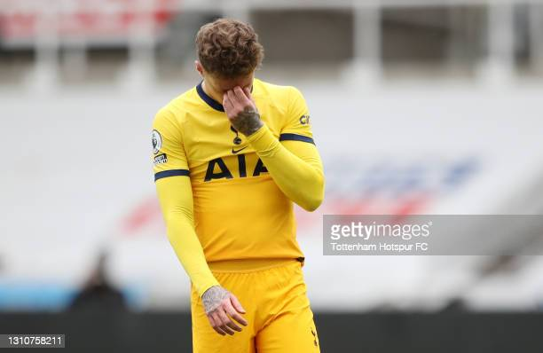 Joe Rodon of Tottenham Hotspur reacts following the Premier League match between Newcastle United and Tottenham Hotspur at St. James Park on April...