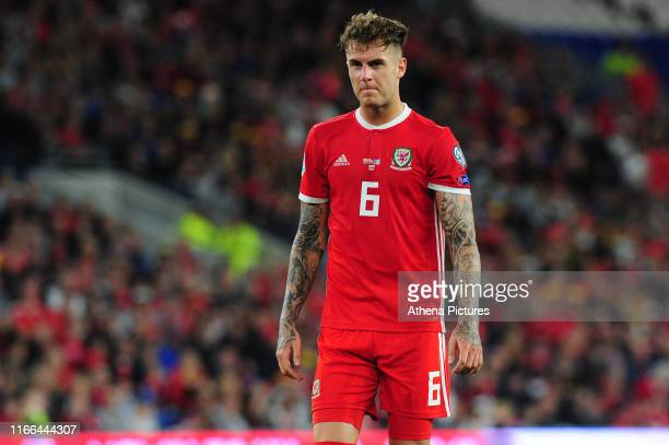 Joe Rodon of Wales during the UEFA Euro 2020 Qualifier match between Wales and Azerbaijan at the Cardiff City Stadium on September 06 2019 in Cardiff...