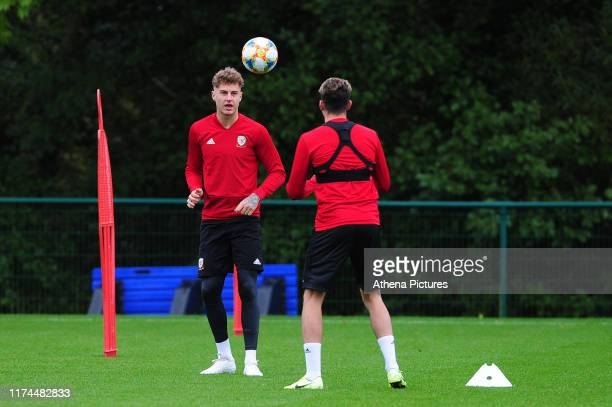 Joe Rodon of Wales during the Wales Training Session at The Vale Resort on October 7 2019 in Cardiff Wales