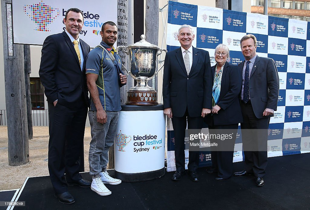 Joe Roff, Kurtley Beale, George Souris MP and ARU CEO Bill Pulver pose during the Australian Wallabies Bledisloe Cup launch at the Museum of Sydney on August 9, 2013 in Sydney, Australia.