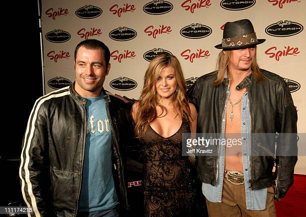 Joe Rogan, Carmen Electra and Kid Rock during Spike TV's 1st Annual Autorox Awards - Arrivals at Barker Hanger in Santa Monica, California, United...