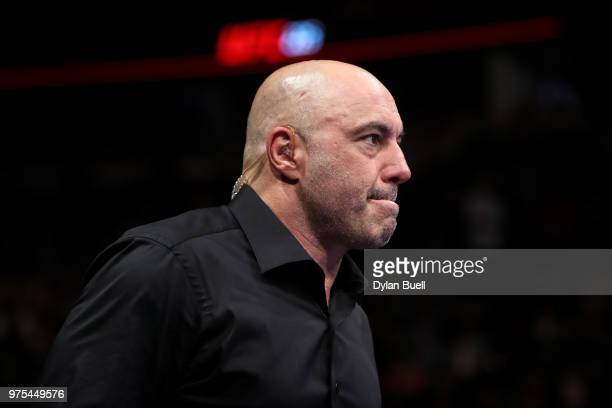 Joe Rogan enters the octagon during the UFC 225 Whittaker v Romero 2 event at the United Center on June 9 2018 in Chicago Illinois