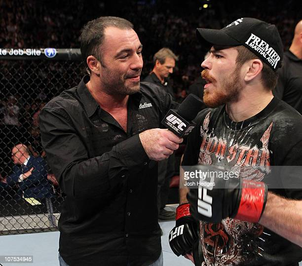 Joe Rogan interviews Jim Miller after he won his fight against Charles Oliveira during their Lightweight Swing bout during UFC 124 at the Centre Bell...