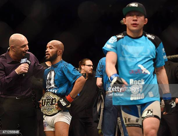 Joe Rogan interviews UFC flyweight champion Demetrious 'Mighty Mouse' Johnson of the United States after defeating Kyoji Horiguchi of Japan by...