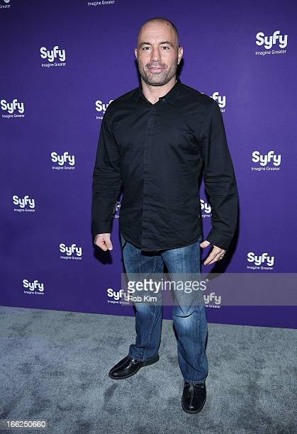 Joe Rogan of Question Everything attends Syfy 2013 Upfront at Silver Screen Studios at Chelsea Piers on April 10 2013 in New York City