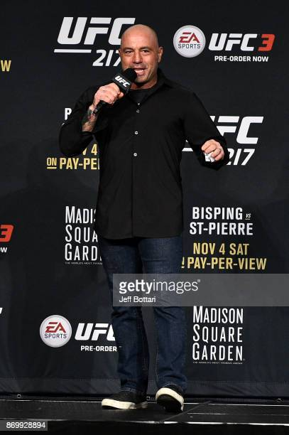Joe Rogan speaks to the crowd during the UFC 217 weighin inside Madison Square Garden on November 3 2017 in New York City