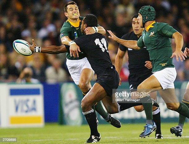 Joe Rokocoko of New Zealand during the Rugby World Cup Quarter Final match between New Zealand and South Africa at Telstra Dome November 8 2003 in...