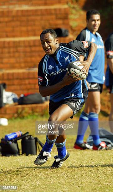 Joe Rokocoko of New Zealand running during a training session on July 15 2003 in Durban South Africa