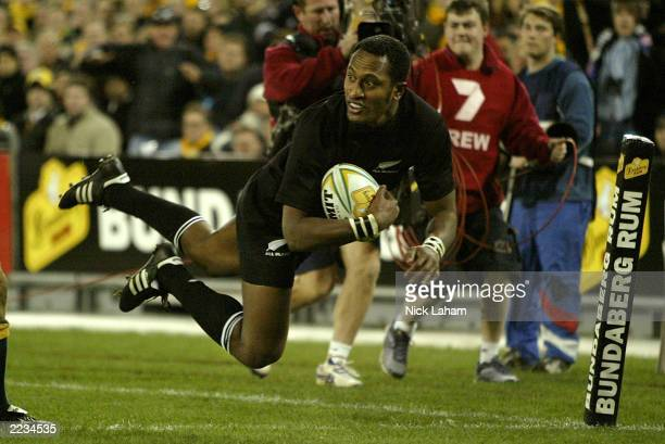 Joe Rokocoko of the All Blacks scores a try during the Tri Nations Bledisloe Cup match between the Australian Wallabies and the New Zealand All...