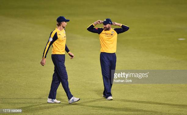 Joe Root and Adam Lyth of Yorkshire Vikings discuss tactics during the T20 Vitality Blast 2020 match between Lancashire Lightning and Yorkshire...