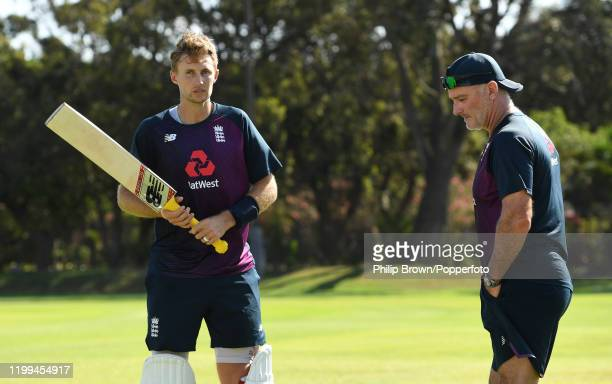 Joe Root and batting coach Graham Thorpe of England talk after a two man net session at St George's Park before the third Test Match between England...