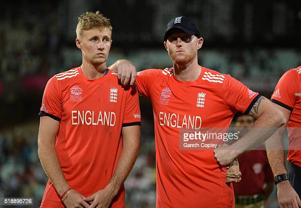 Joe Root and Ben Stokes of England react after losing the ICC World Twenty20 India 2016 Final between England and the West Indies at Eden Gardens on...