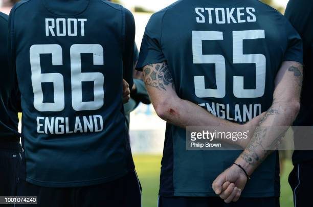 Joe Root and Ben Stokes of England wait for the presentations after the 3rd Royal London OneDay International between England and India at Headingley...