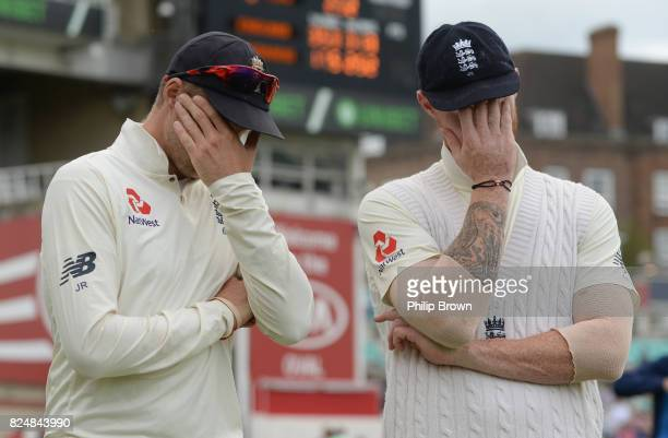 Joe Root and Ben Stokes of England wait for the presentations after England won the 3rd Investec Test match between England and South Africa at the...