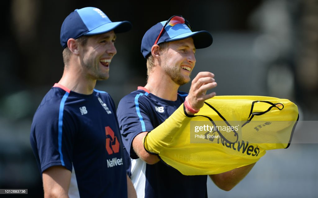 Joe Root and Chris Woakes look on during a training session before the 2nd Specsavers Test Match between England and India at Lord's Cricket Ground on August 7, 2018 in London England.