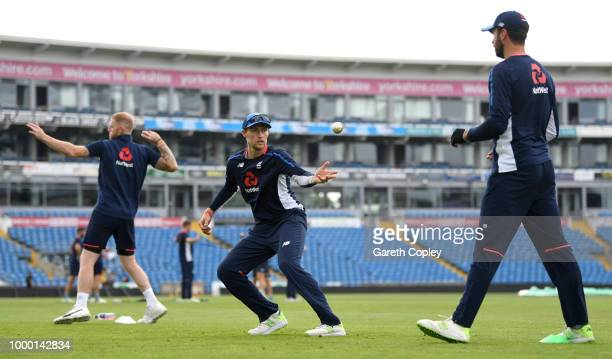 Joe Root and James Vince of England take part in a fielding drill during a net session at Headingley on July 16 2018 in Leeds England