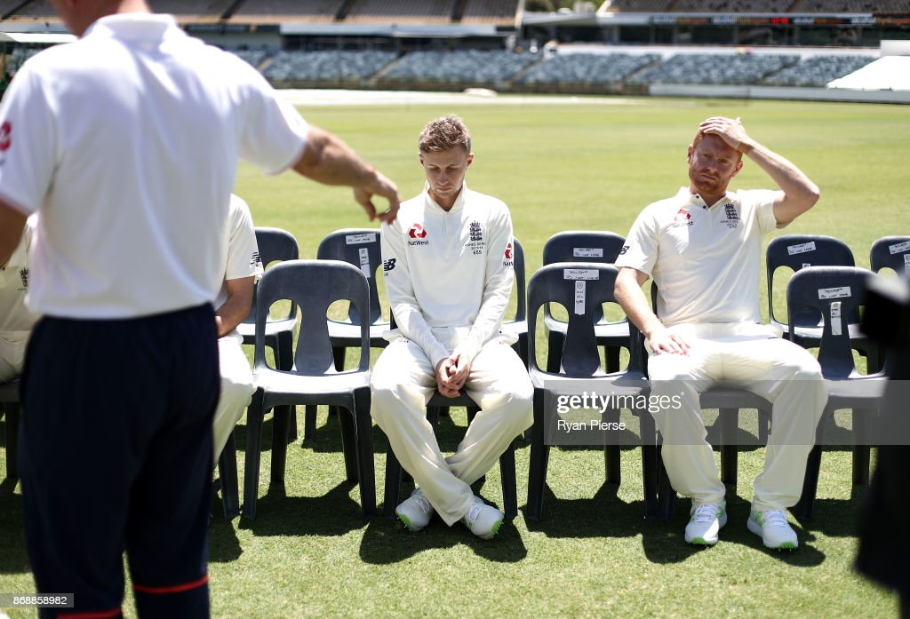 Joe Root and Jonny Bairstow of England look on during a team photo before an England nets session at the WACA on November 1, 2017 in Perth, Australia.