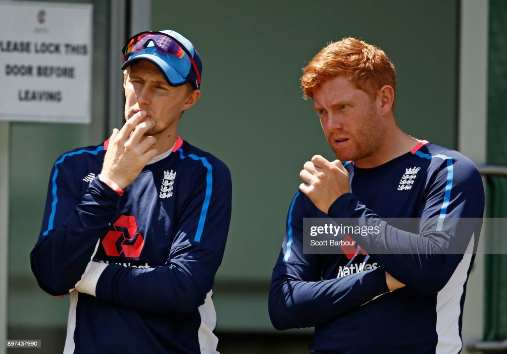Joe Root and Jonny Bairstow of England look on during an England nets session at the Melbourne Cricket Ground on December 23, 2017 in Melbourne, Australia.