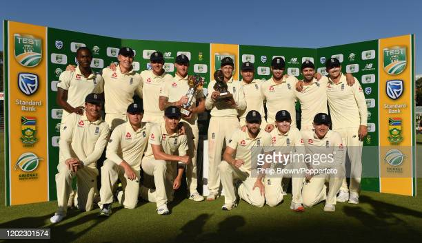 Joe Root and the England team with the series trophy after England won the Fourth Test at the Wanderers between England and South Africa on January...