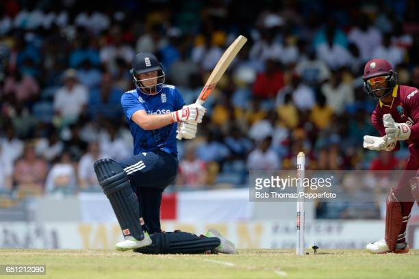 Joe Root batting for England during the 3rd One Day International between the West Indies and England at Kensington Oval on March 9 2017 in...