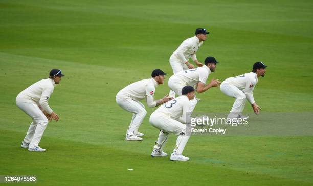Joe Root Ben Stokes Jos Buttler Dom Sibley Dom Bess and Rory Burns of England in the slips during Day One of the 1st #RaiseTheBat Test Match between...