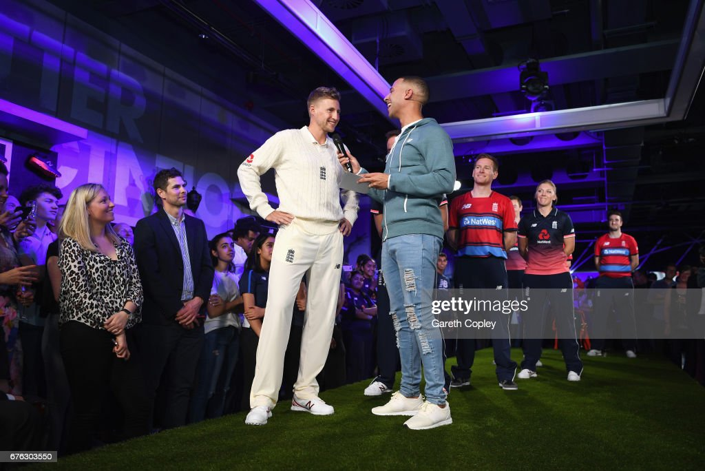 Joe Root, England Test captain talks with TV presenter and Radio DJ Marvin Humes during the New Balance England Cricket Kit Launch at the New Balance store, Oxford Street on May 2, 2017 in London, England.