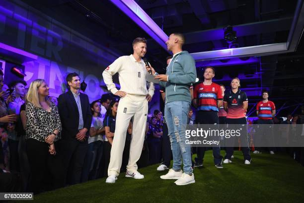 Joe Root England Test captain talks with TV presenter and Radio DJ Marvin Humes during the New Balance England Cricket Kit Launch at the New Balance...