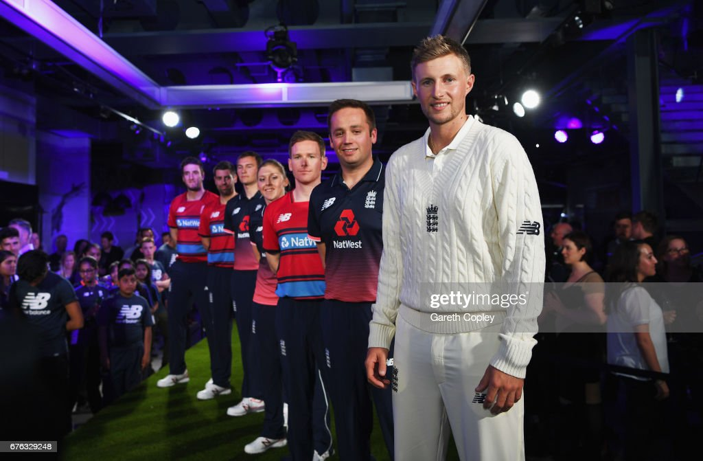 Joe Root, Ian Nairn, Eoin Morgan, Heather Knight, Chris Edwards, Matthew Dean and Paul Allen of England pose during the New Balance England Cricket Kit Launch at the New Balance store, Oxford Street on May 2, 2017 in London, England.