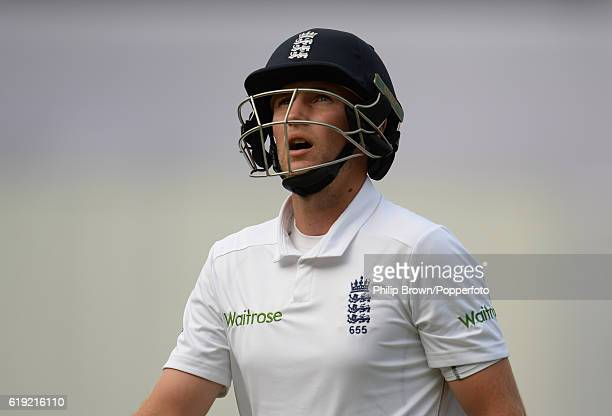 Joe Root leaves the field after being dismissed during the third day of the second test match between Bangladesh and England at Shere Bangla National...