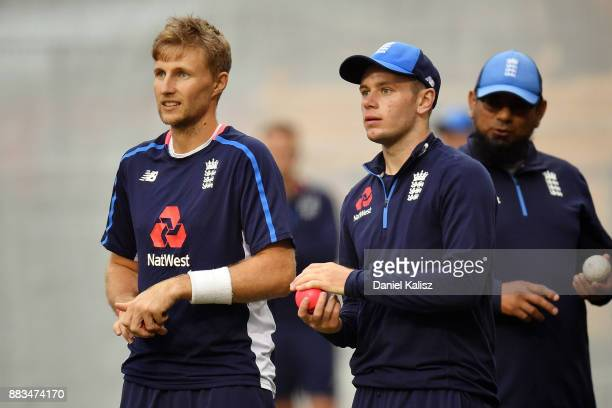 Joe Root Mason Crane of England and Saqlain Mushtaq spinbowling Coach of England look on during an England nets session at Adelaide Oval on December...