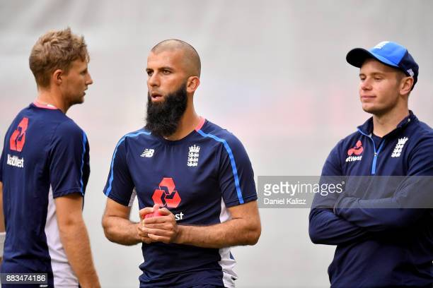Joe Root Moeen Ali and Mason Crane of England look on during an England nets session at Adelaide Oval on December 1 2017 in Adelaide Australia