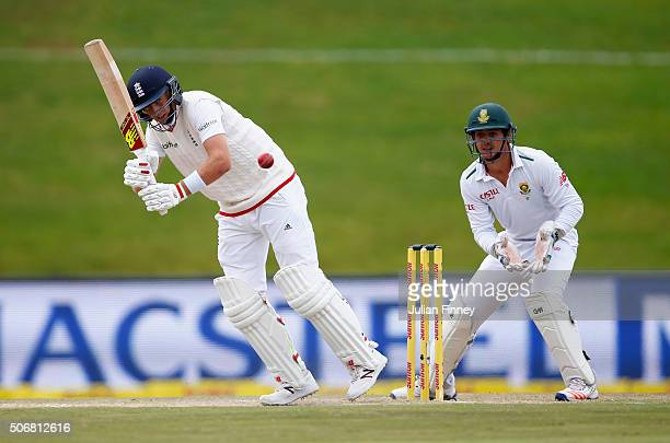 Joe Root of Engand bats as Quinton de Kock of South Africa keeps wicket during day five of the 4th Test at Supersport Park on January 26 2016 in...