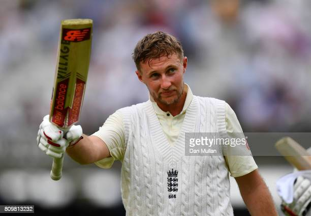 Joe Root of England acknowledges the crowd as he leaves the field at the close of play during day one of the 1st Investec Test Match between England...