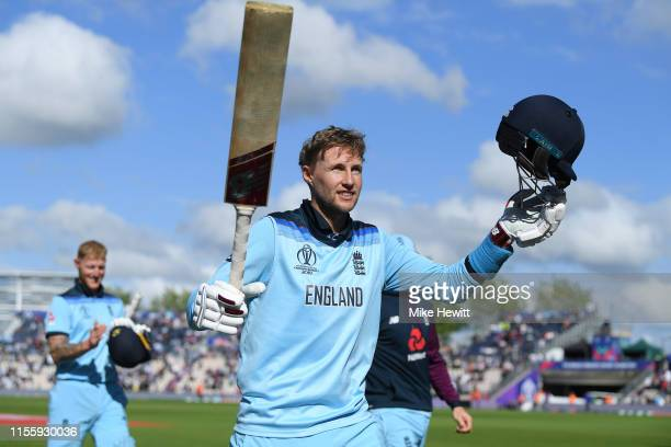 Joe Root of England acknowledges the crowd's support at the end of the Group Stage match of the ICC Cricket World Cup 2019 between England and West...