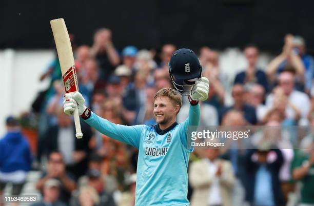 Joe Root of England after scoring a century during the Group Stage match of the ICC Cricket World Cup 2019 between England and Pakistan at Trent...
